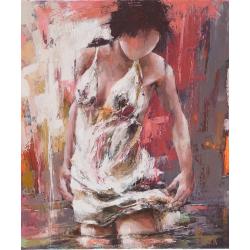 """""""Sur le miroir du fleuve"""" 80 x 65 (Oeuvre originale unique)."""